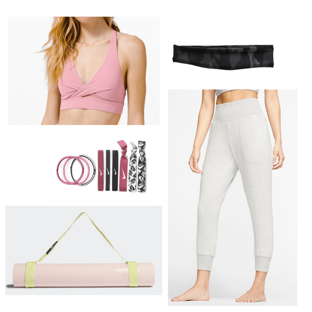 Best workouts for women: Yoga outfit with pink sports bra, jogger sweats, yoga mat, headband, hair ties