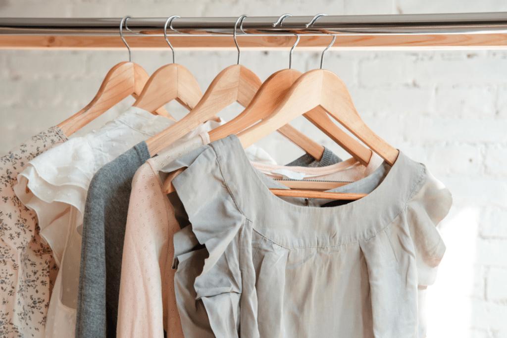 Pretty clothes in a closet