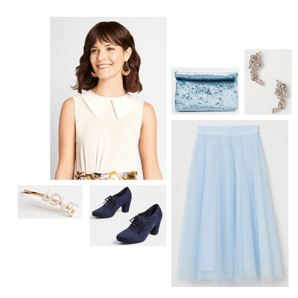 Outfit inspired by The Great: no-sleeve white tank with faux collar, baby blue pastel tulle midi skirt, chunky navy oxford heels.