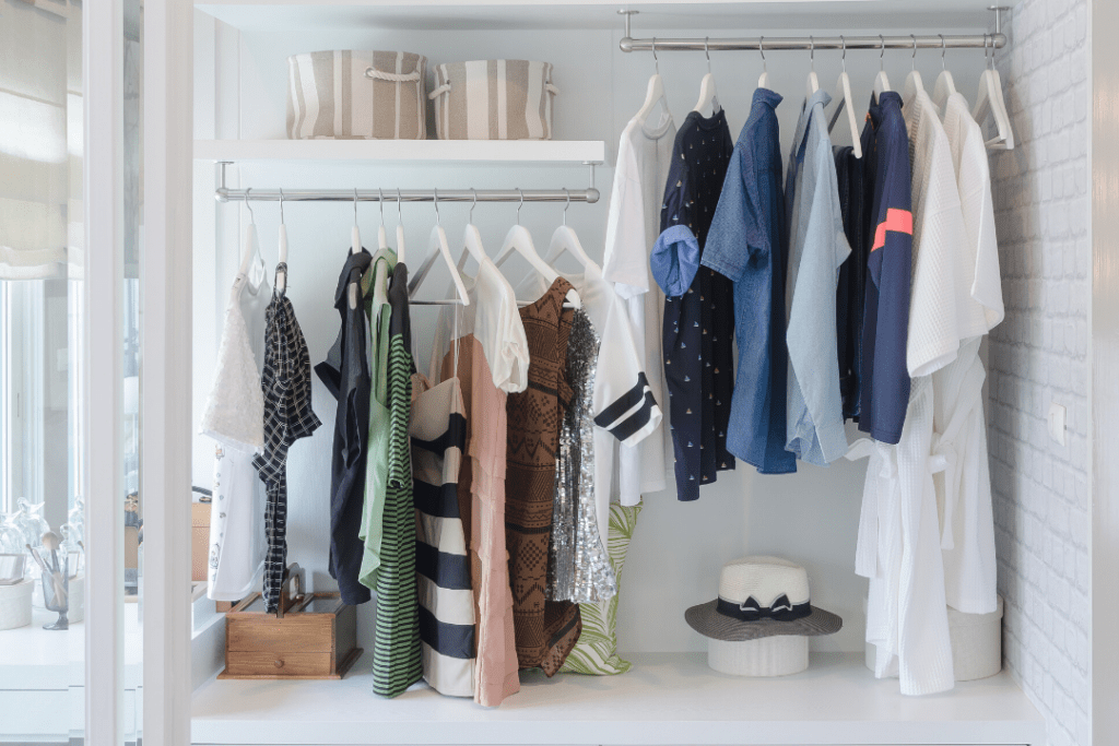 A small closet that's been organized