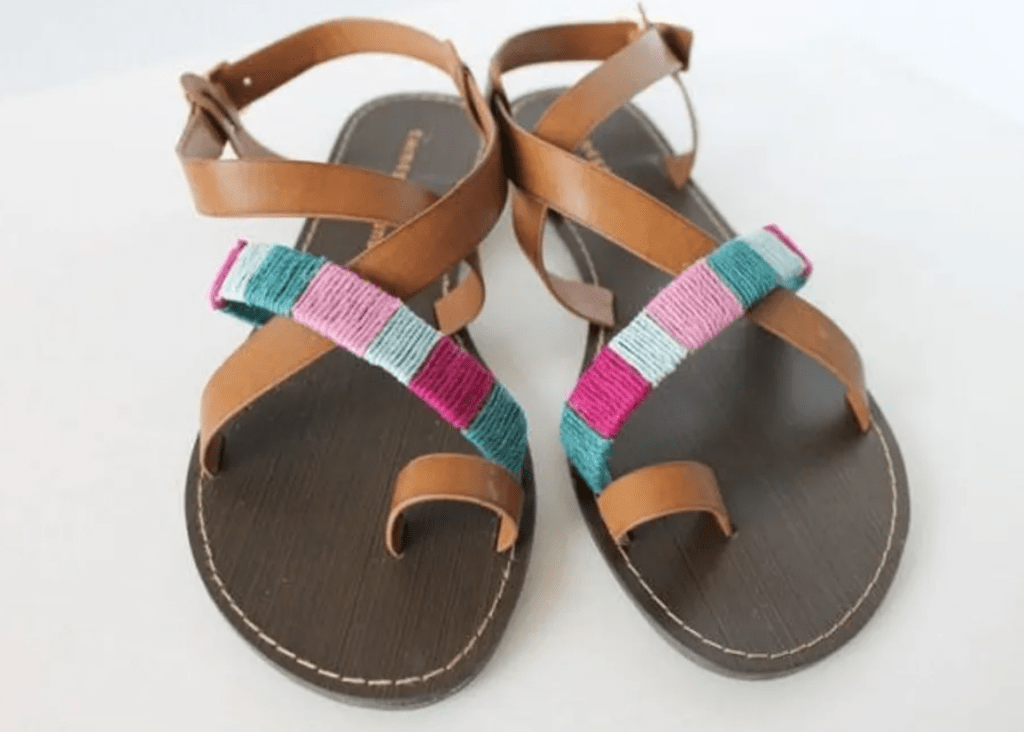 sandals with colorful rope detail