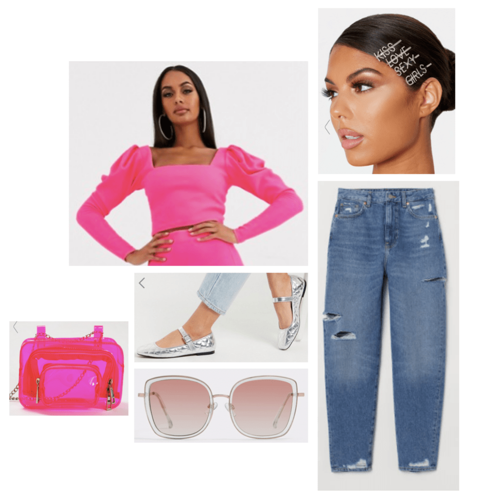 Lady Gaga Chromatica Fashion Outfit: pink puff sleeve crop top, distressed denim jeans, silver mary jane flats