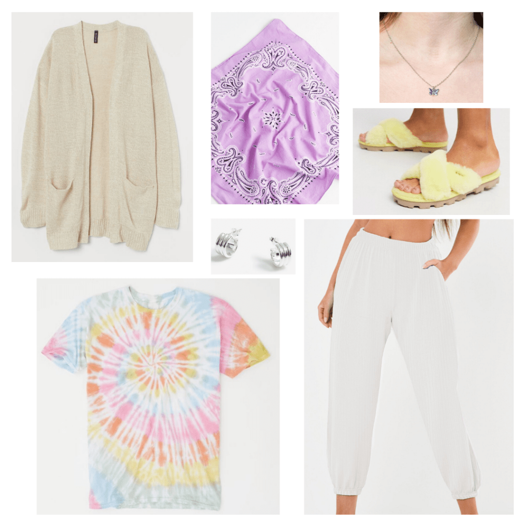 Casual at home tie dye shirt outfit with cream sweats, beige cardigan, rainbow tie dye shirt, bandana, fluffy sandals