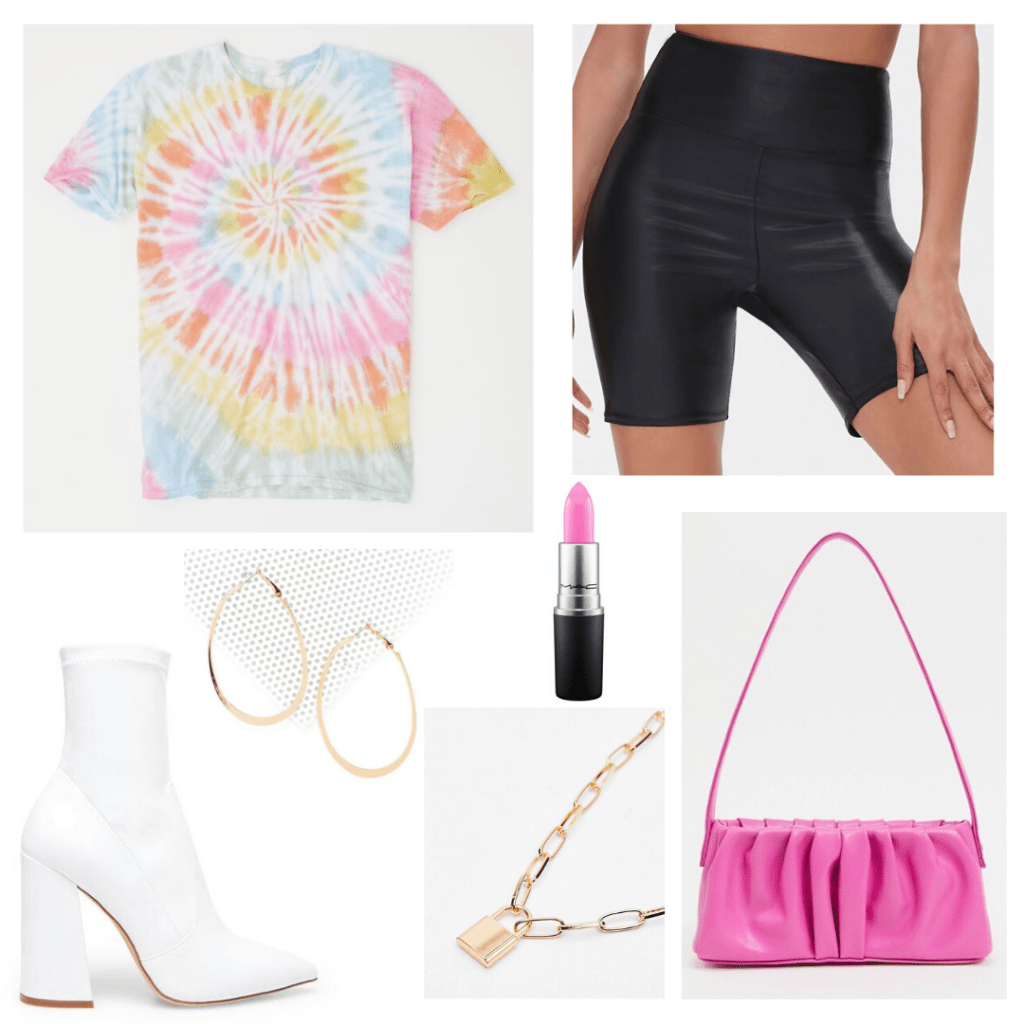 Tie dye shirt outfit for a night out with biker shorts, white ankle boots, neon purse, gold jewelry, bold lipstick