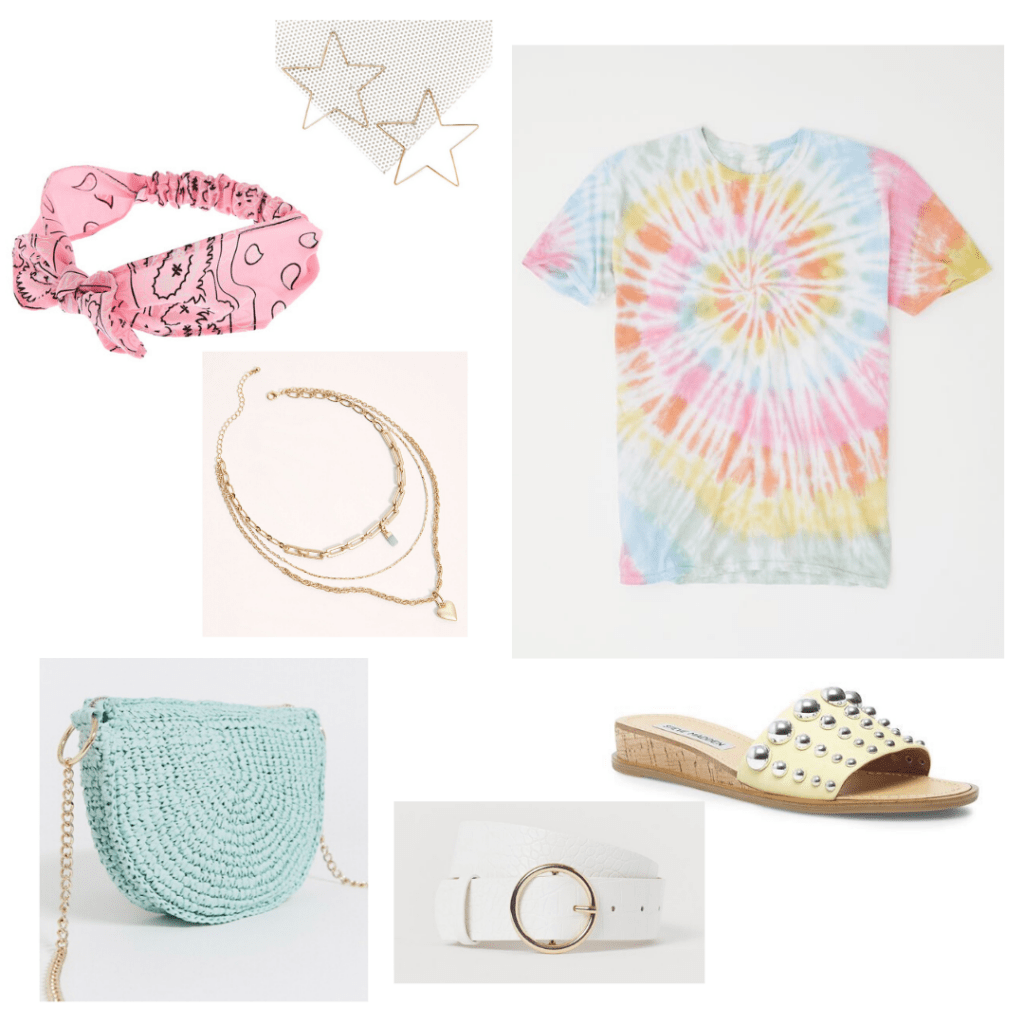 Tie dye shirt outfit for a day out with rainbow tie dye shirt, gold jewelry, crossbody bag, belt, sandals