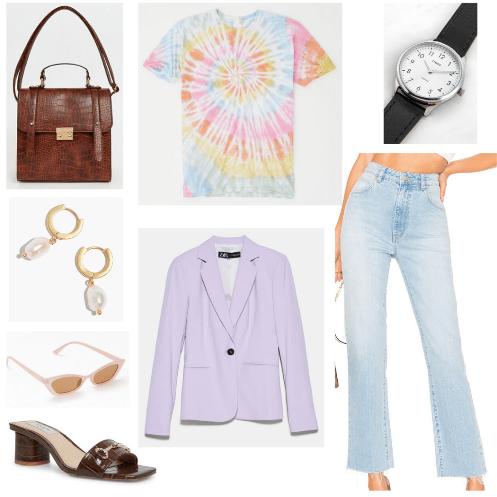 How to style a tie dye shirt into an outfit for work with wide leg jeans, lavender blazer, mules, earrings, cross body bag, simple watch