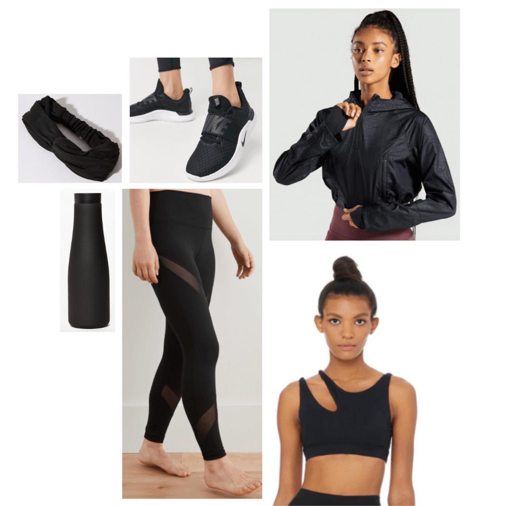Black Widow inspired athleticwear look: asymmetrical cut out bra, black rain jacket, black workout leggings, black Nike sneakers