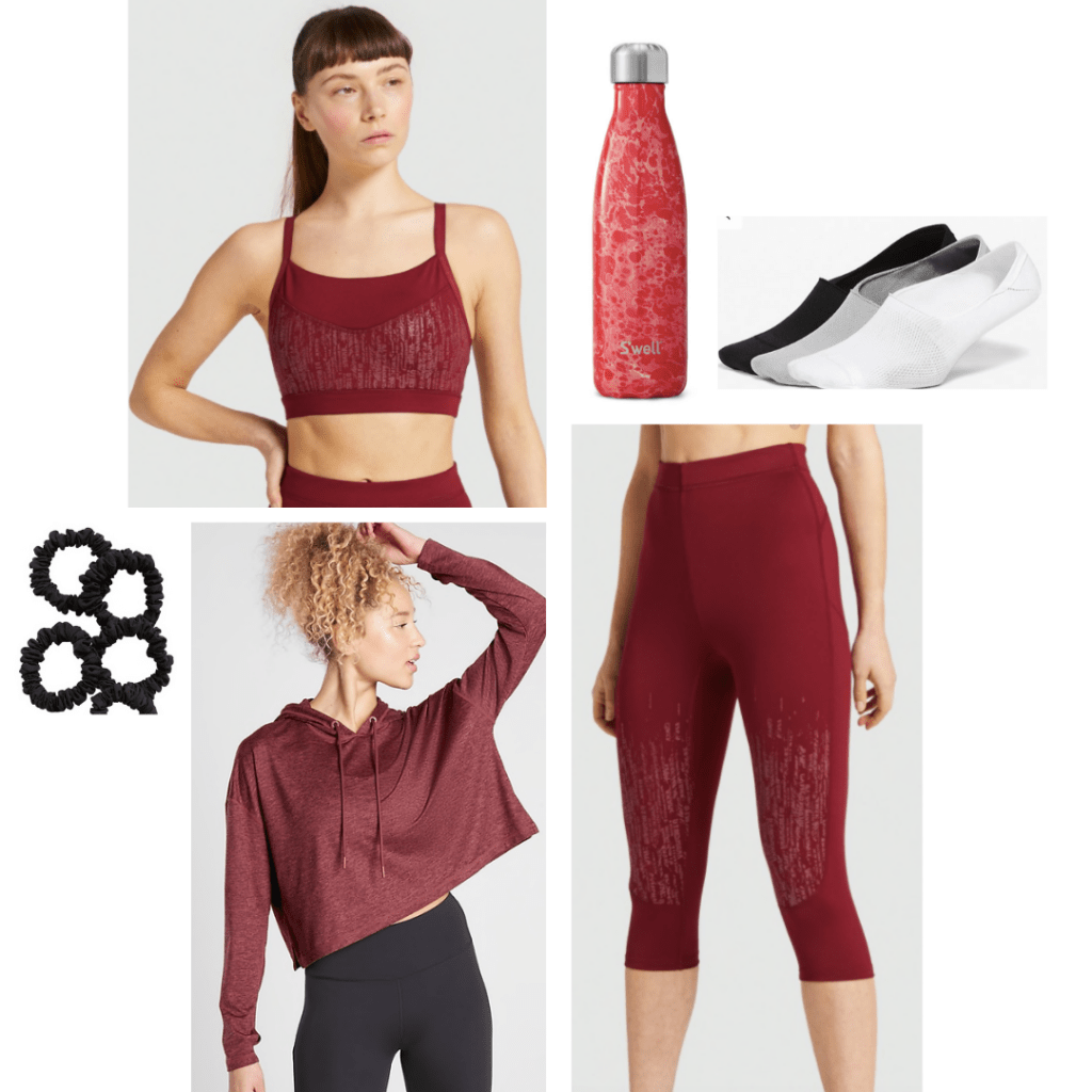 Scarlet Witch inspired activewear look: red long line sports bra, high-waisted red capri leggings, red cropped hoodie