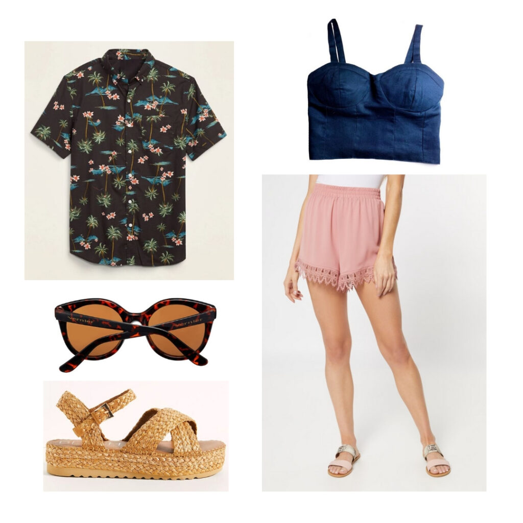 Outfit inspired by the 1940s: Floral button-up, corset top, flowy pink shorts, sunglasses, sandals.
