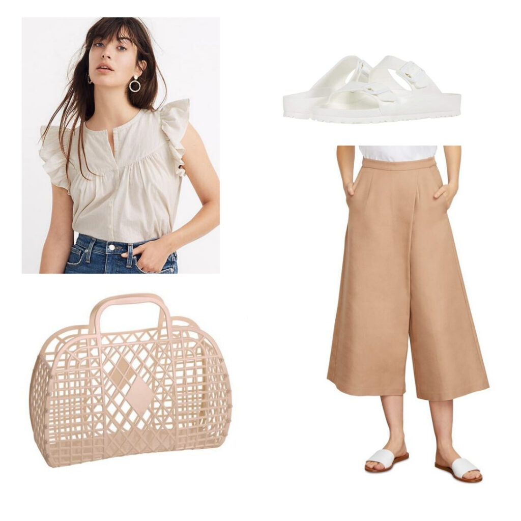 Vintage summer outfit inspired by the 1950s: Ruffled blouse, beige pants, birkenstock sandals, plastic bag.