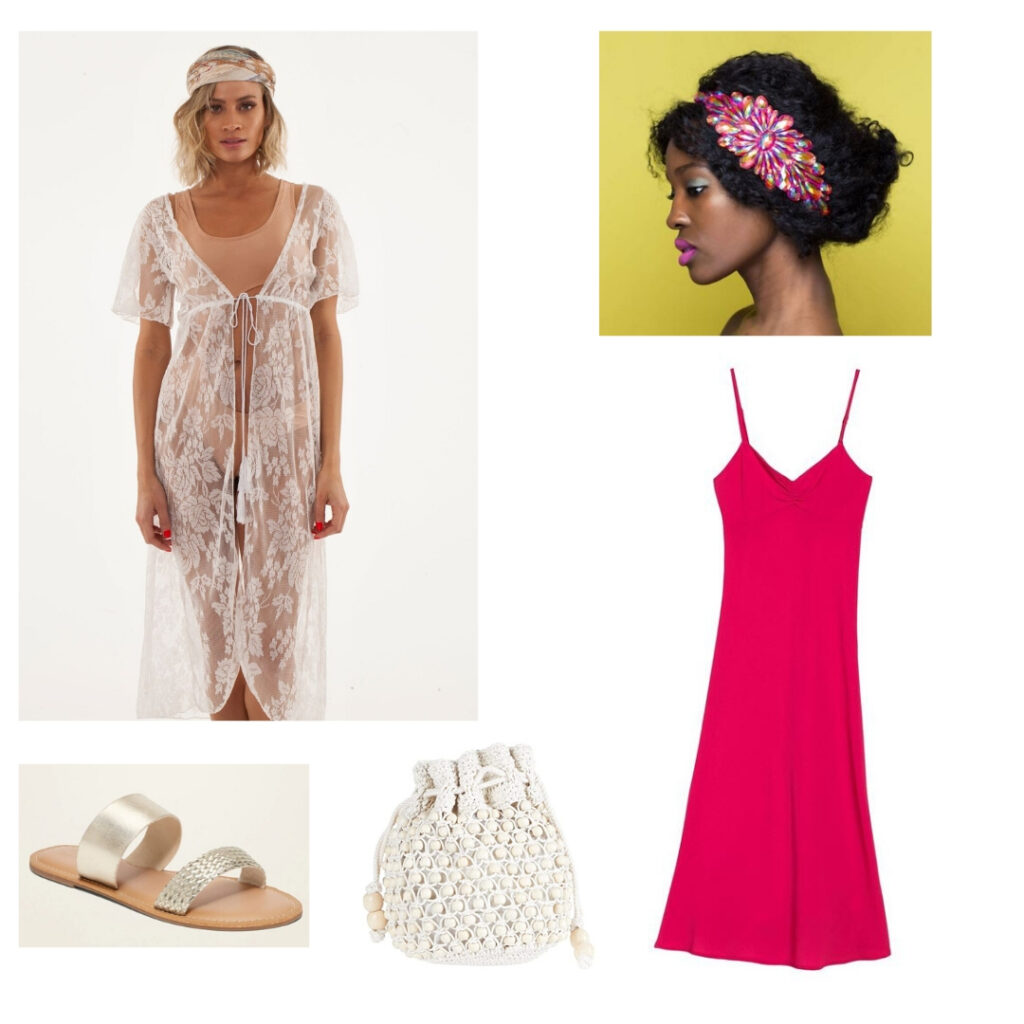 Outfit inspired by the 1920s: Lace kimono, pink dress, pink headband, gathered bag, gold sandals.
