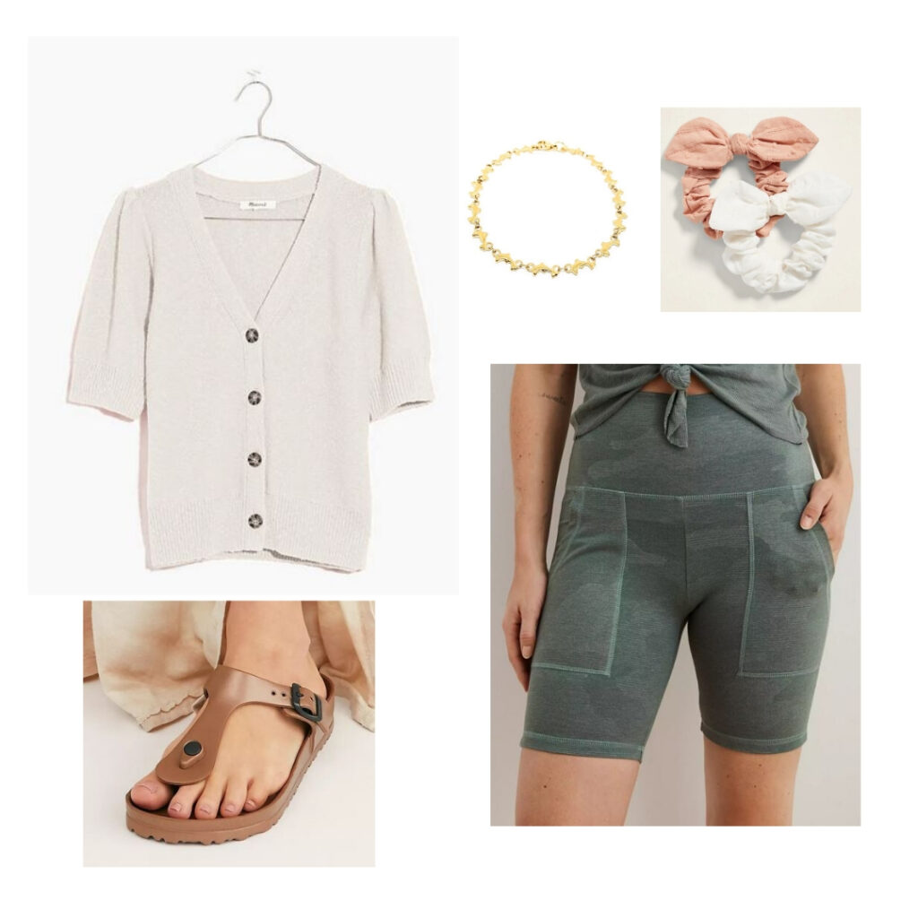 Vintage summer outfit inspired by the 1980s: Sweater top, biker shorts, hair ties, anklet, birkenstock sandals.