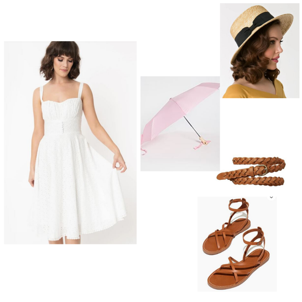 Audrey Hepburn summer outfit idea: White eyelet fit and flare dress, straw hat, pink umbrella and brown leather shoes and belt.