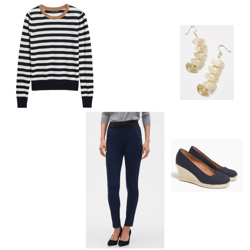 Kate Middleton zoom outfit - Striped sweater and navy pants by Banana Republic, Anthropolgie gold leaf drop earrings with J.Crew Factory navy espadrilles
