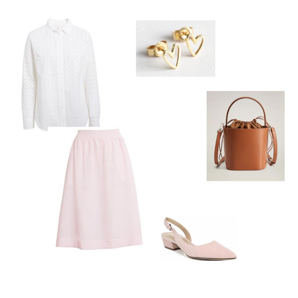 Julia Engel outfit 1: 1901 button down shirt and pink skirt, & Other stories heart earrings, Mango bucket bag, Macy's slingbacks