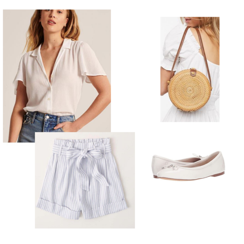 Audrey Hepburn summer outfit: White button down, striped paper bag shorts, wicker purse and white ballet flats