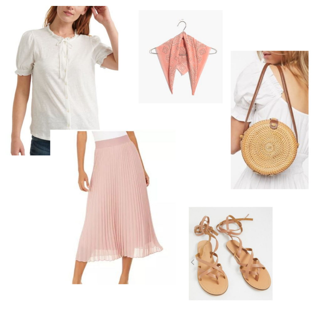 Lucky brand white blouse, pink midi skirt, pink scarf, woven purse, strappy sandals