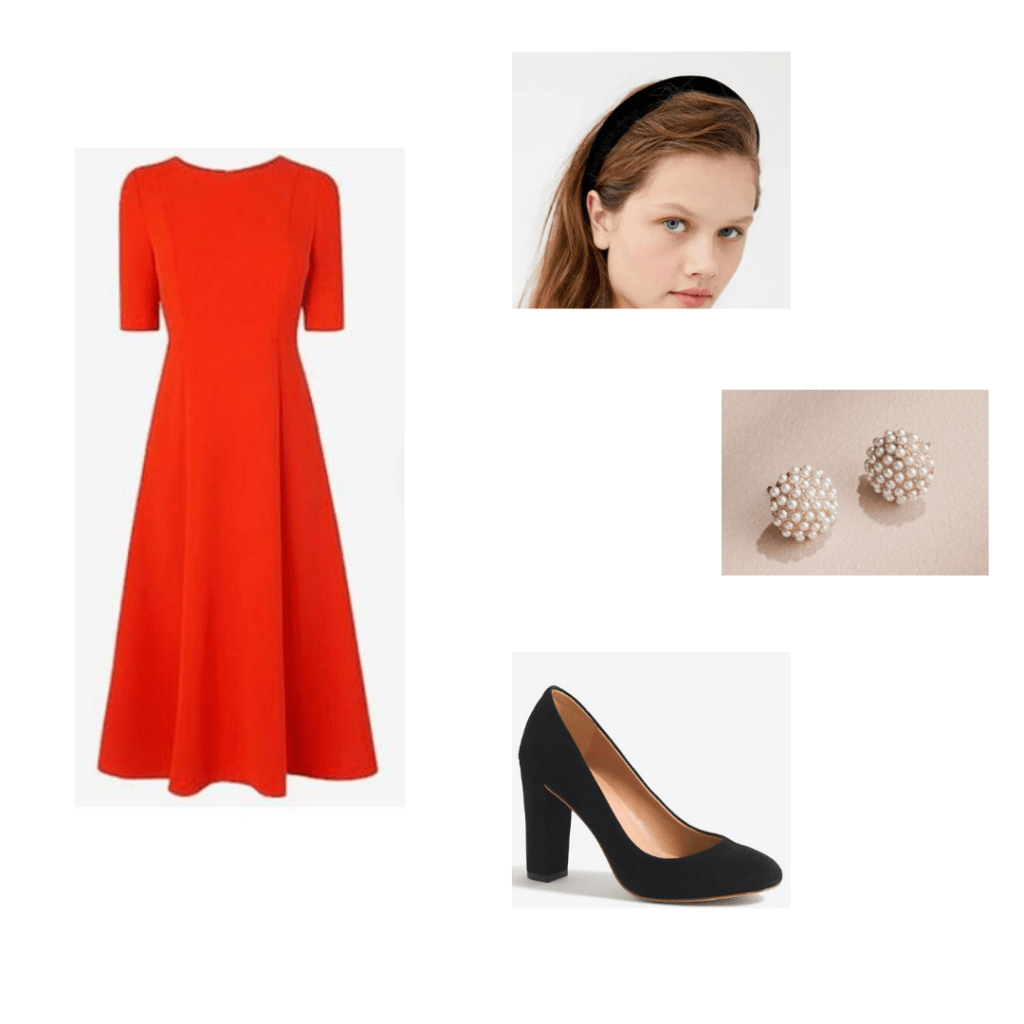 Kate Middleton zoom outfit - Red Kate Middleton Replica dress, urban outfitters black velvet headband, pearl stud earrings and J.Crew Factory block heels