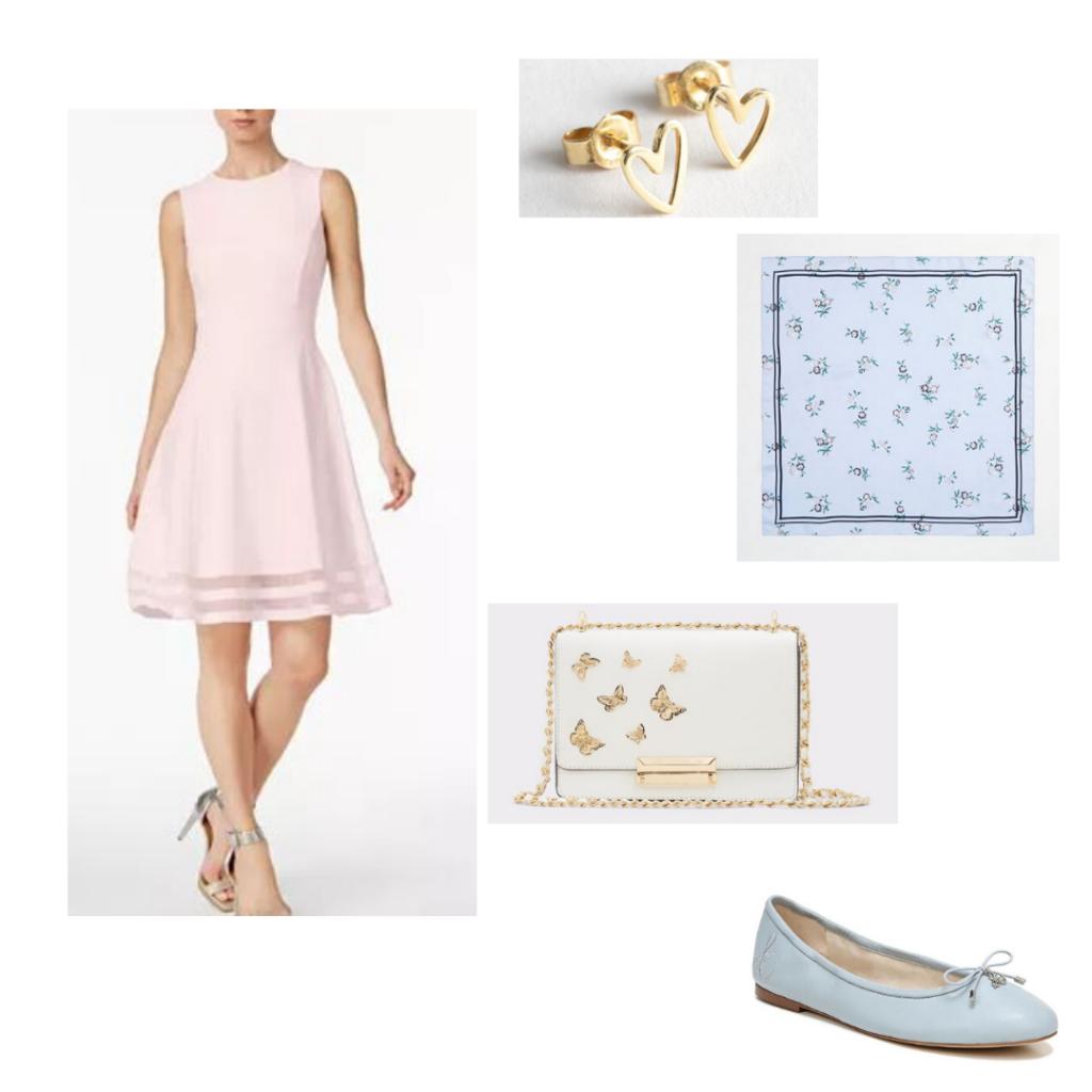 Pink Calvin Klein dress, heart earrings, floral blue scarf, butterfly embellished clutch, blue ballet flats