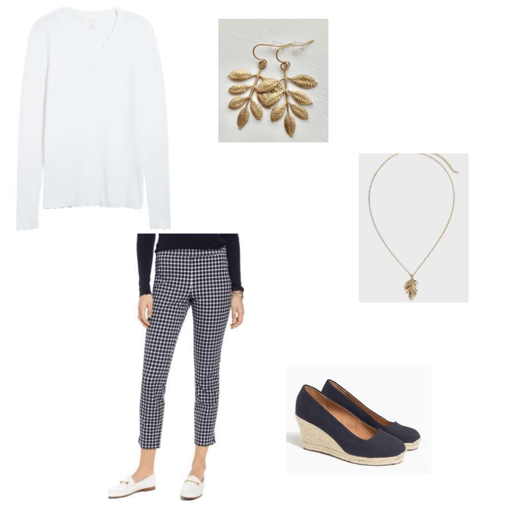 1901 scalloped white sweater and checked pants, gold leaf earrings and necklace with J.Crew Factory espadrille wedges