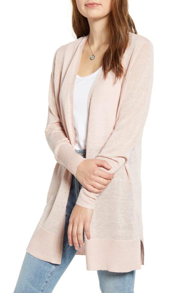 Halogen long cardigan in blush pink
