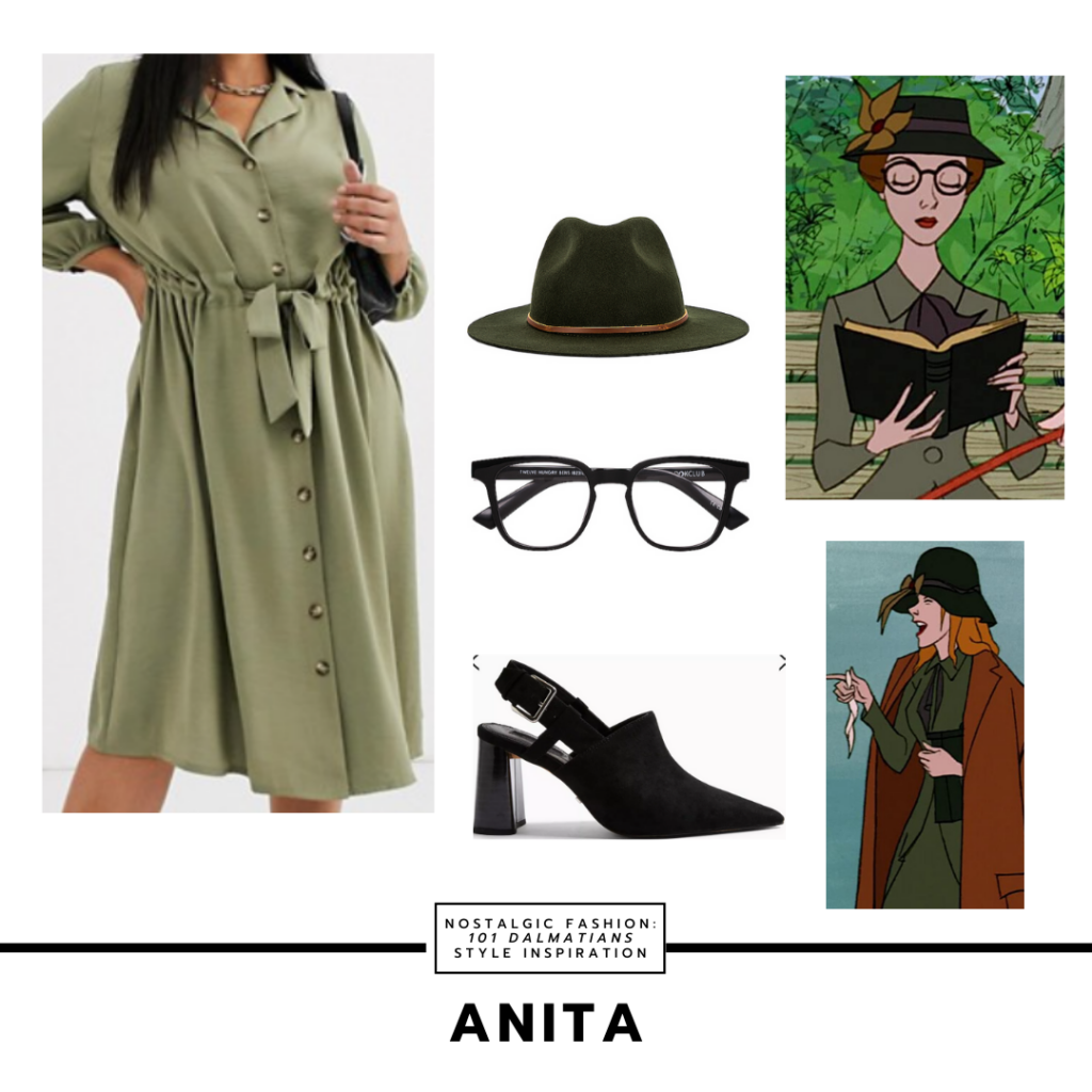 Disneybound style outfit inspired by Anita from Disney's 101 dalmatians - green wrap dress, dark green fedora, black rim glasses, pointed toe mules in black