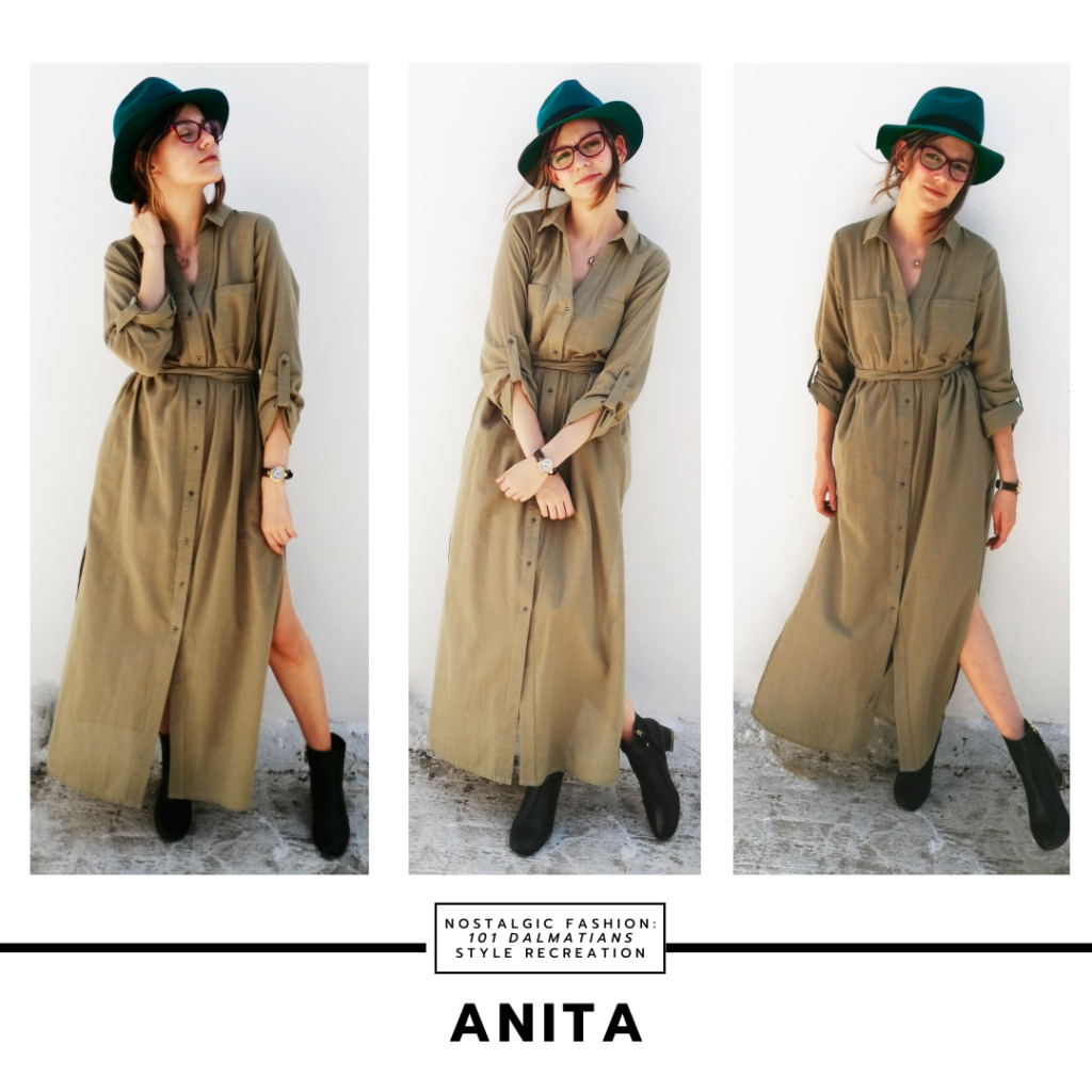 Disneybound outfit inspired by Anita from 101 dalmatians - green military style maxi dress, green hat, glasses, chunky boots