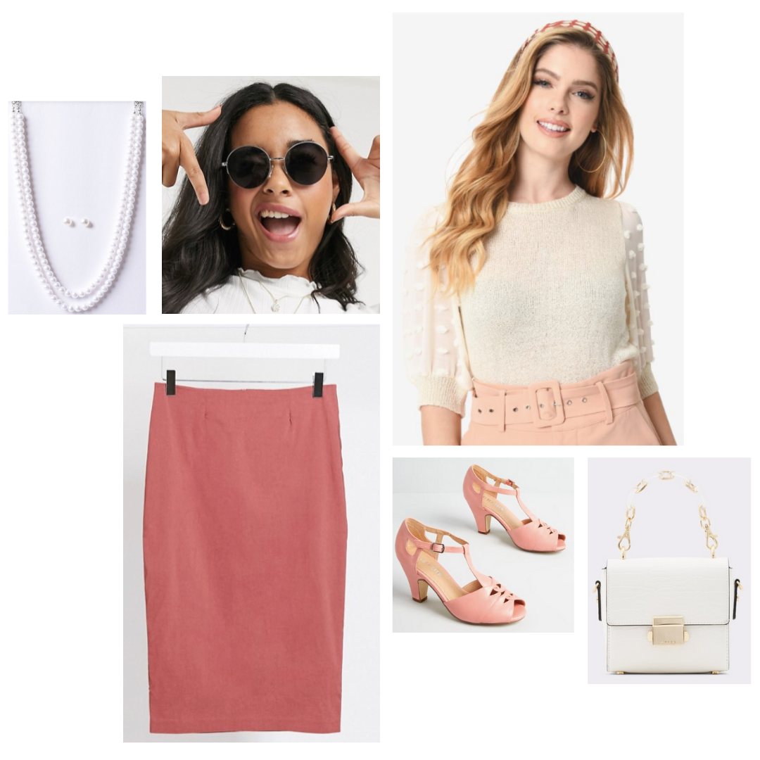 Look inspired by The Politician, Alice: white sweater, dusty rose pencil skirt, chunky t-strap heels