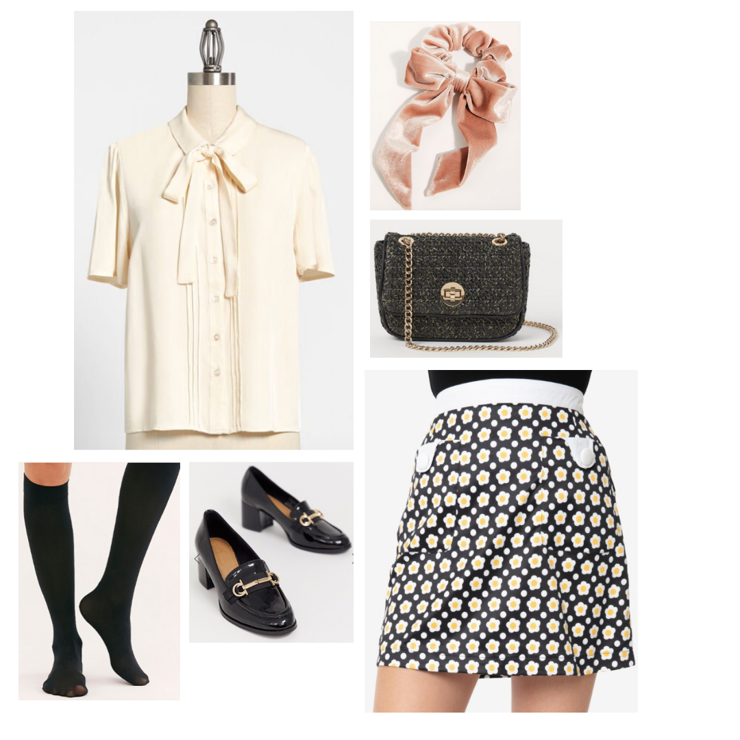 Look inspired by Astrid: cream blouse with bow, daisy print skirt, tall socks, oxford loafers