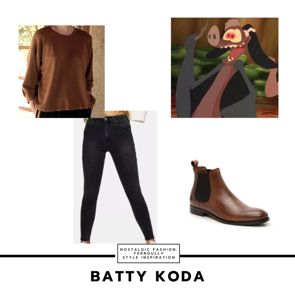 Batty Koda outfit from Fern Gully -- brown shirt, black skinny jeans, brown boots