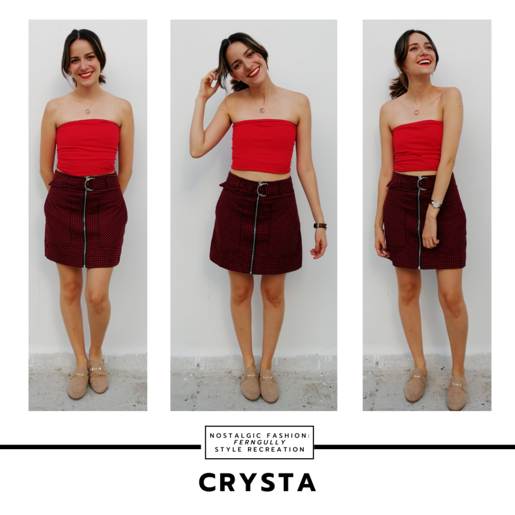 Crysta outfit from FernGully - red tube top, burgundy zip front skirt, nude shoes