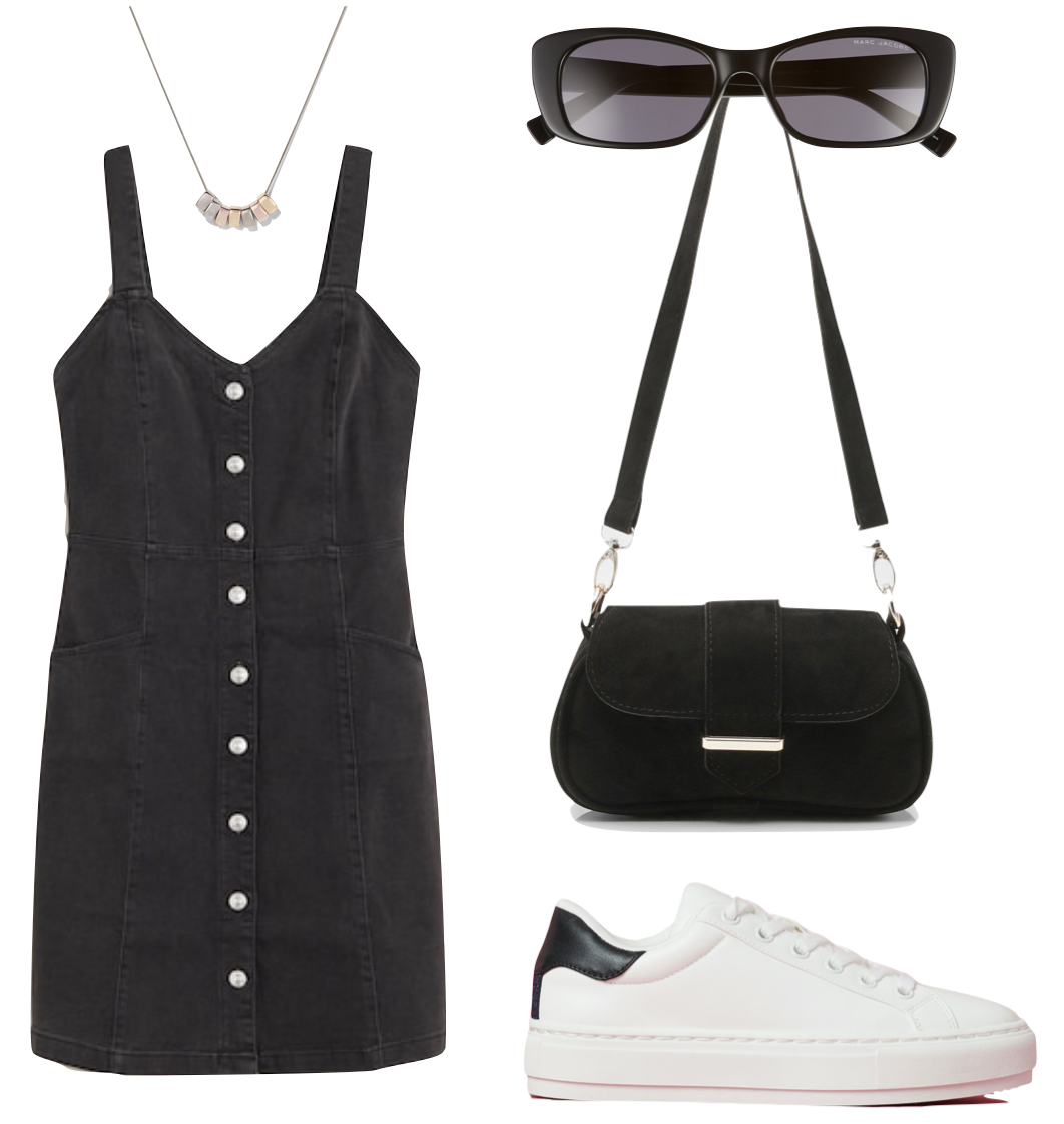 Camila Mendes style - Outfit #1: black denim button front mini dress, silver necklace, white low-top sneakers, black and silver buckle shoulder bag, and square sunglasses