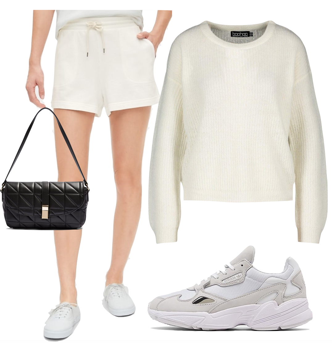 Camila Mendes Outfit #3: cream colored knit sweater, cream French terry shorts, black 90's shoulder bag, and white Adidas Falcon sneakers