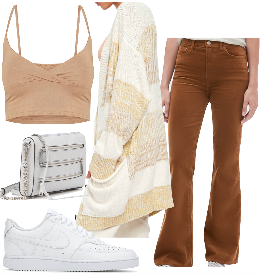 Chantel Jeffries Outfit: brown corduroy flared pants, multicolor cardigan sweater, tan v-neck crop top, gray chainlink crossbody bag, and white Nike low top sneakers