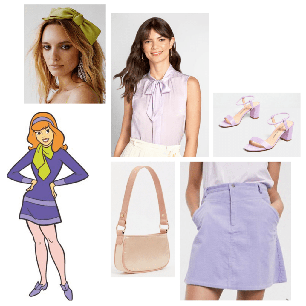 fashion outfit guide: daphne - lavender blouse, lavender miniskirt, lavender chunky heels