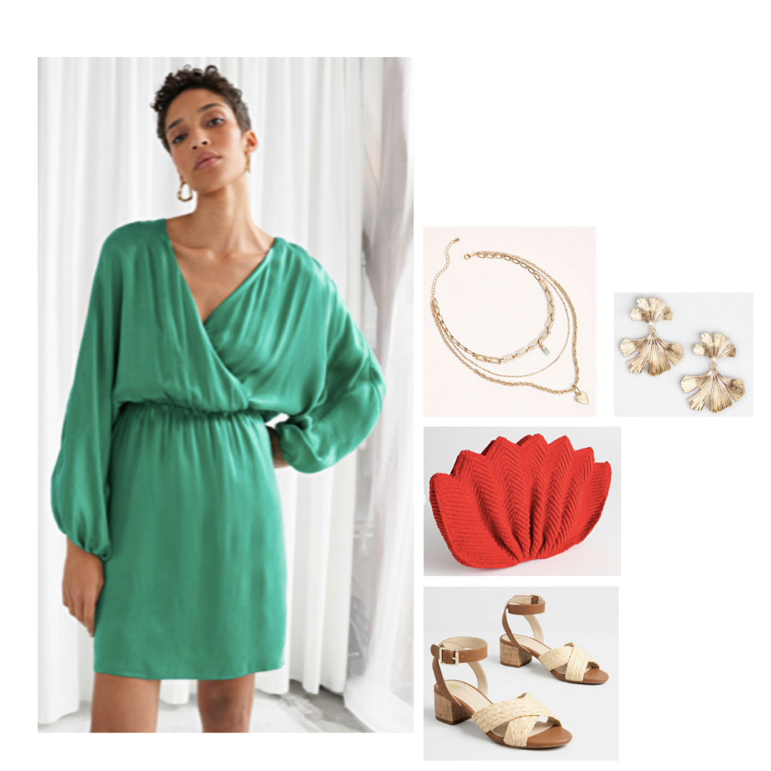 Look inspired by Georgina: emerald green flowy dress, strappy brown sandals, red tulip clutch