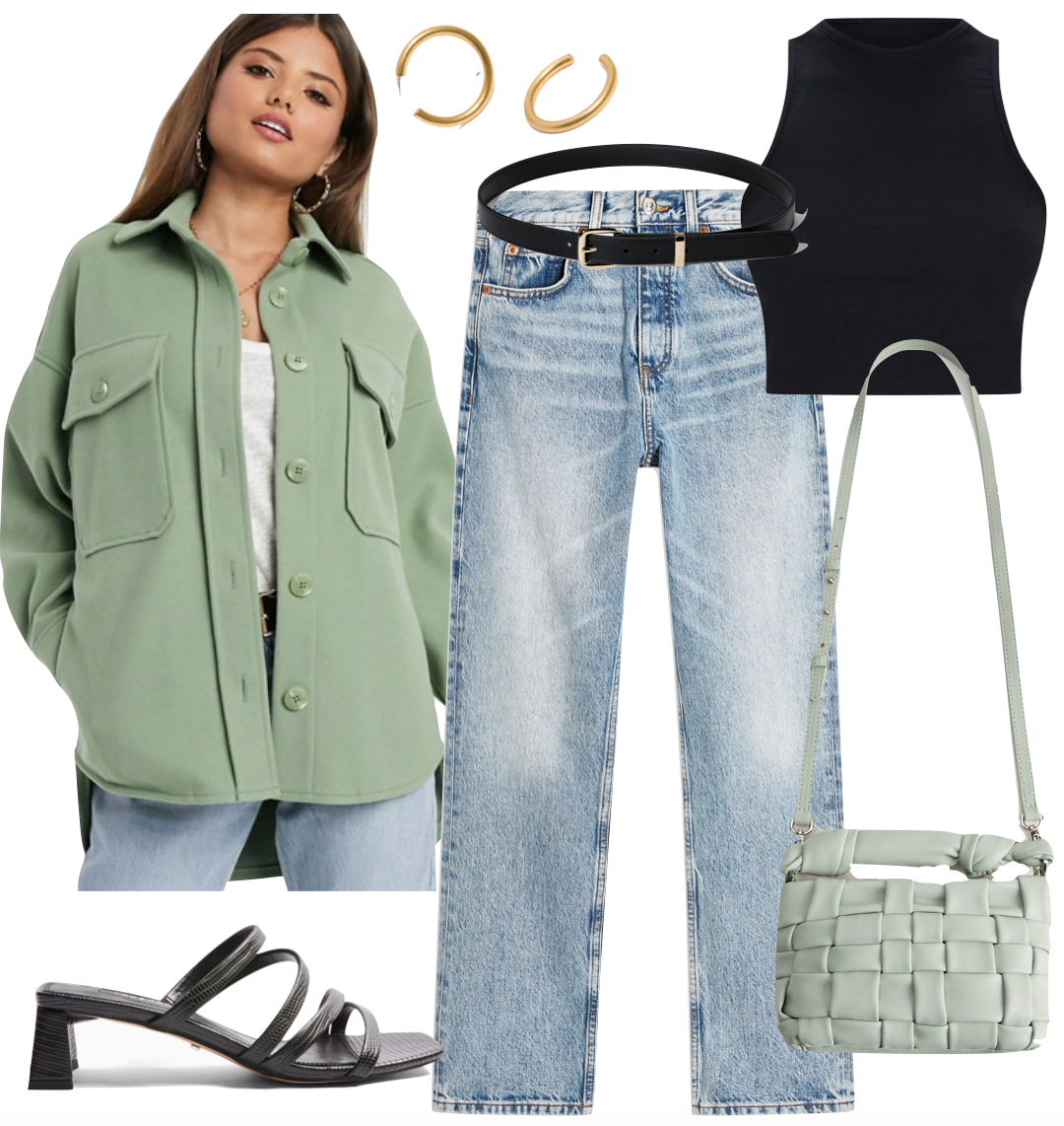 Summer street style 2020 - Hailey Bieber Outfit with green oversized shirt jacket, black racerback crop top, black and gold belt, straight leg jeans, chunky gold hoop earrings, green quilted bag, and black strappy mule sandals