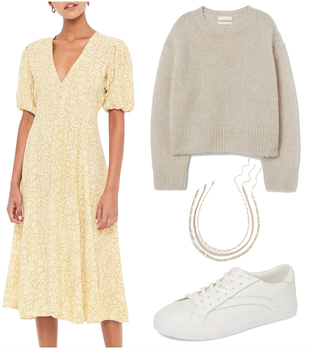 Hannah Bronfman Outfit: yellow snake print midi dress, beige sweater, gold layered chain necklaces, and white low top sneakers
