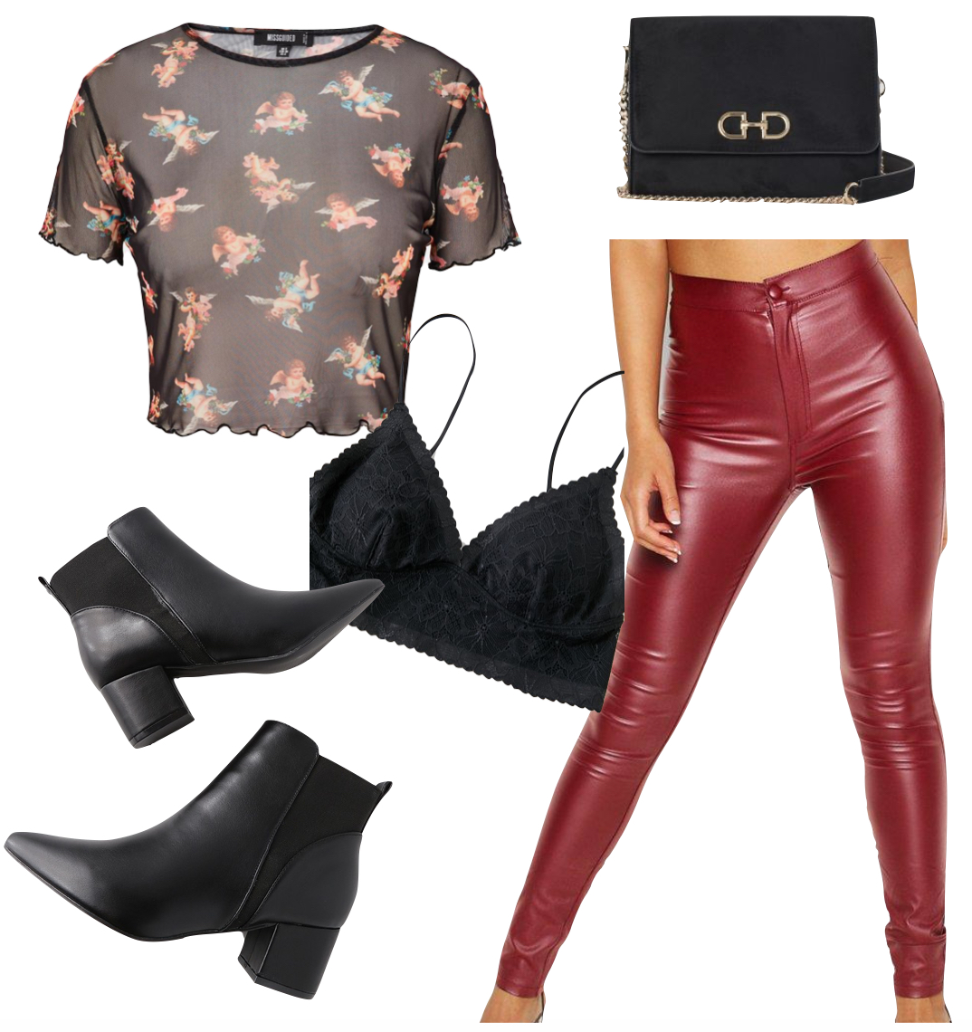 Kendall Jenner Outfit: printed mesh short sleeve top, red faux leather pants, black crossbody bag, black triangle bralette, and black block heel booties