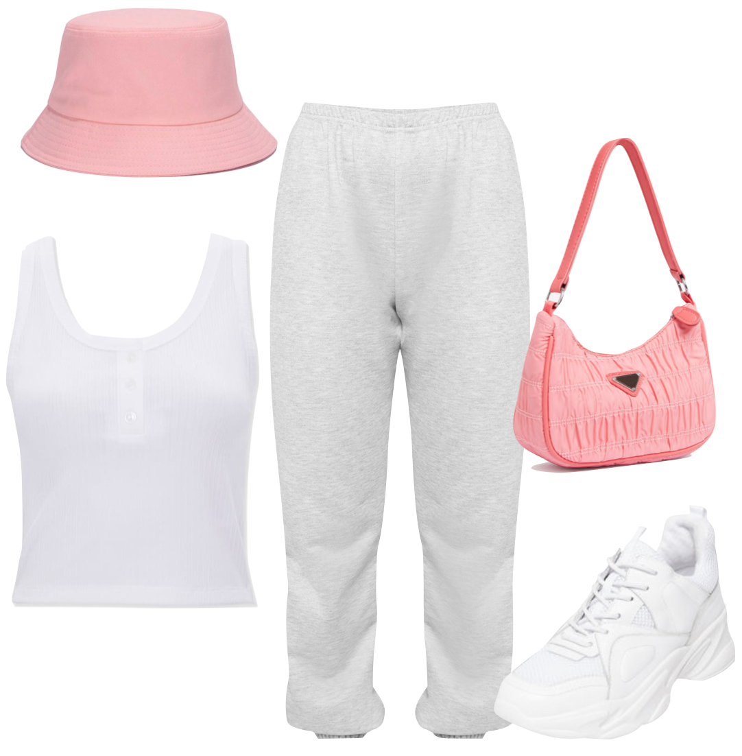Lori Harvey Outfit: pink bucket hat, white henley tank top, gray sweatpants, pink nylon shoulder bag, and chunky white sneakers