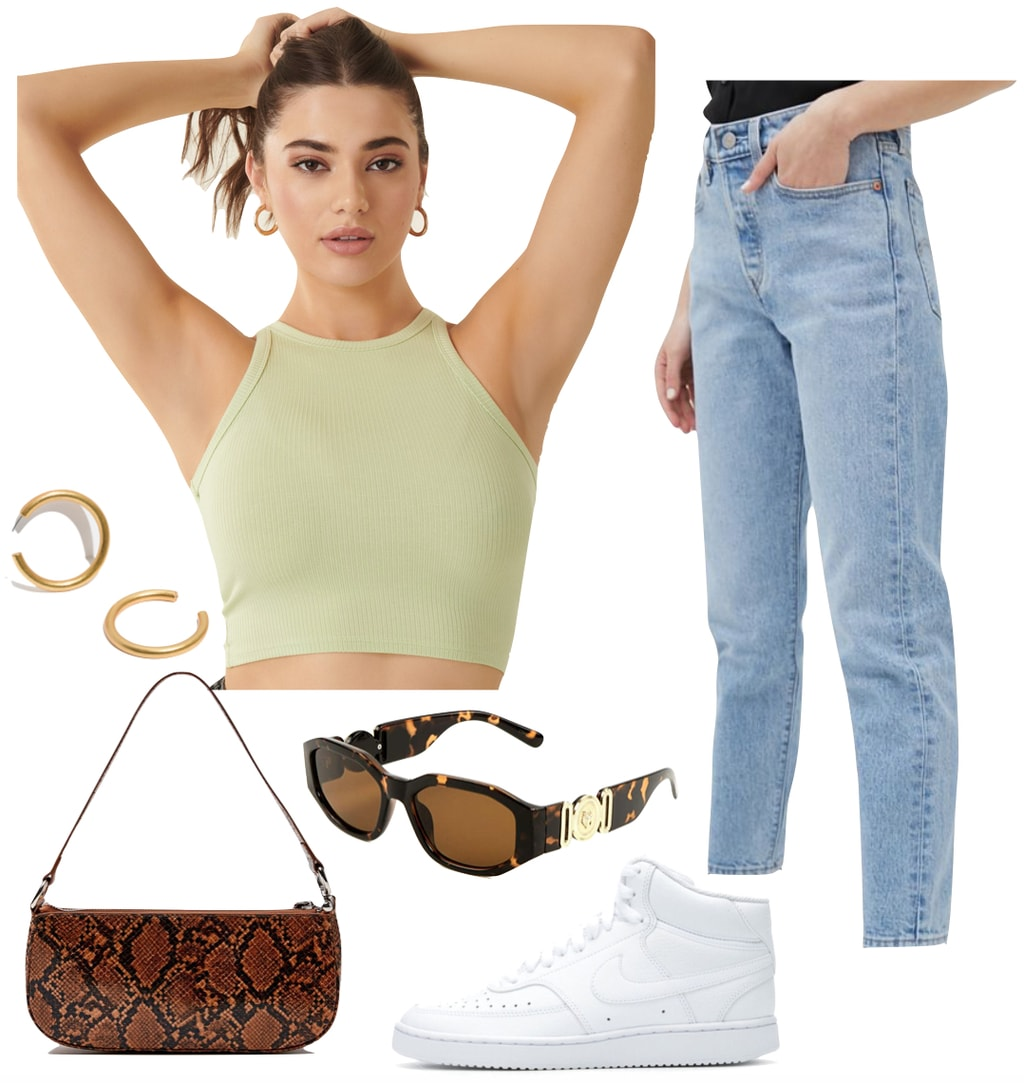 Madison Beer Outfit: lime green ribbed cropped tank top, straight leg jeans, chunky gold hoop earrings, tortoise gold medallion sunglasses, crocodile shoulder bag, and white high top sneakers