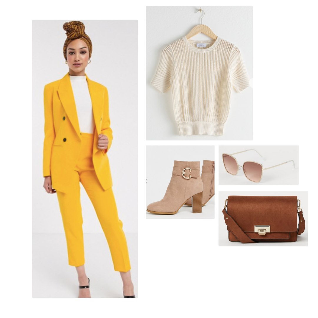 Look inspired by McAfee from The Politician: yellow matching pansuit, ceam top, chunky tan booties