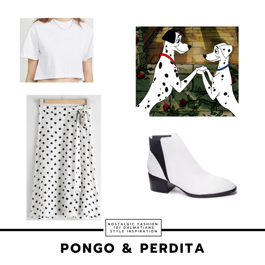 Pongo and Perdita dalmatian inspired outfit from 101 dalmatians - polka dot skirt, white ankle boots, white cropped tee shirt