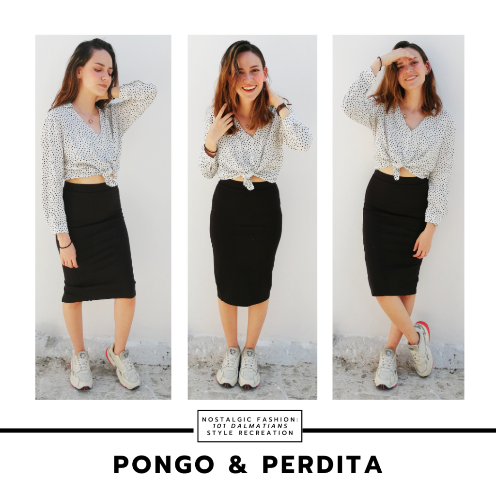 Dalmatian inspired Disneybound outfit inspired by Pongo and Perdita from 101 dalmatians - polka dot blouse, black midi skirt, sneakers