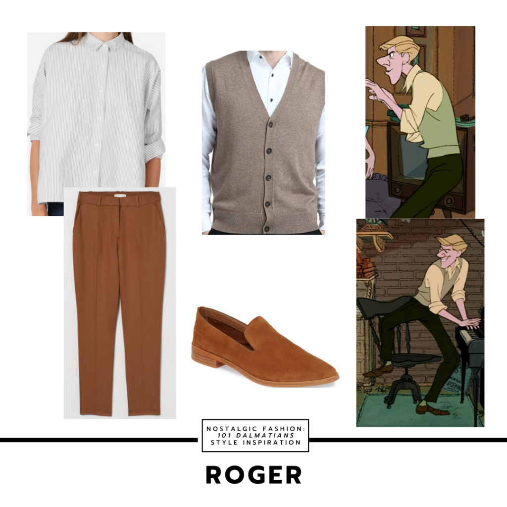 Disneybound style outfit inspired by Roger from 101 dalmatians with brown pants, gray vest, cream button-down shirt, oxfords