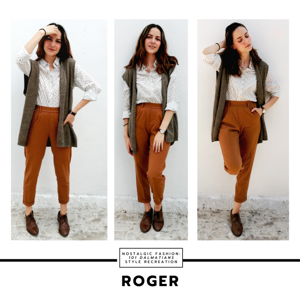 Disneybound outfit inspired by Roger from Disney's 101 dalmatians - outfit with brown pants, gray vest, patterned blouse, oxfords