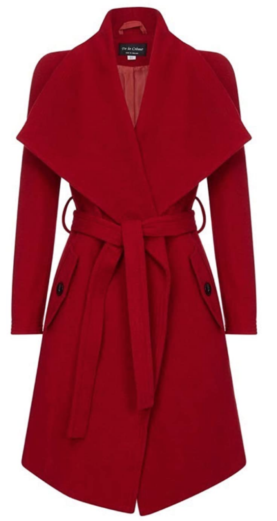 Red wrap coat inspired by Meghan Markle's street style