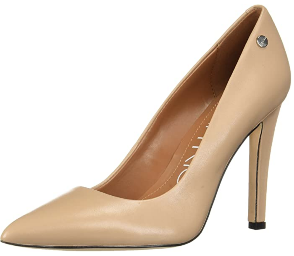 Calvin Klein beige pumps with a pointed toe