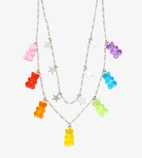 Product photo of a gummy bear chain necklace from Hot Topic