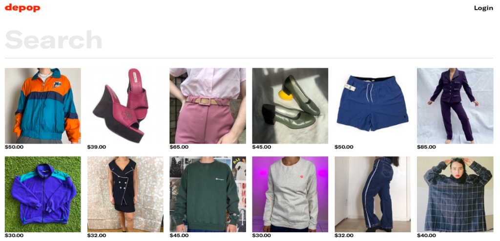 Screenshot of one of our favorite online thrift stores, Depop,'s website's search page